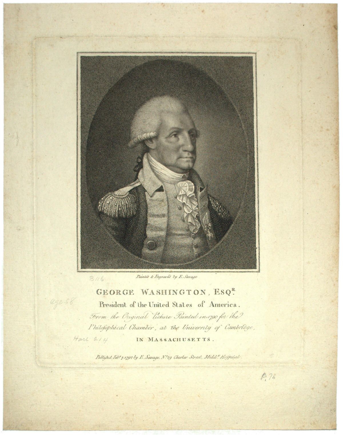 George Washington engraving after Edward Savage